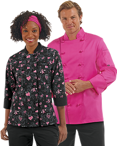 2models with Breast Cancer Chef Coats_Chef